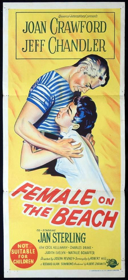 FEMALE ON THE BEACH Original Daybill Movie Poster Joan Crawford Jeff Chandler