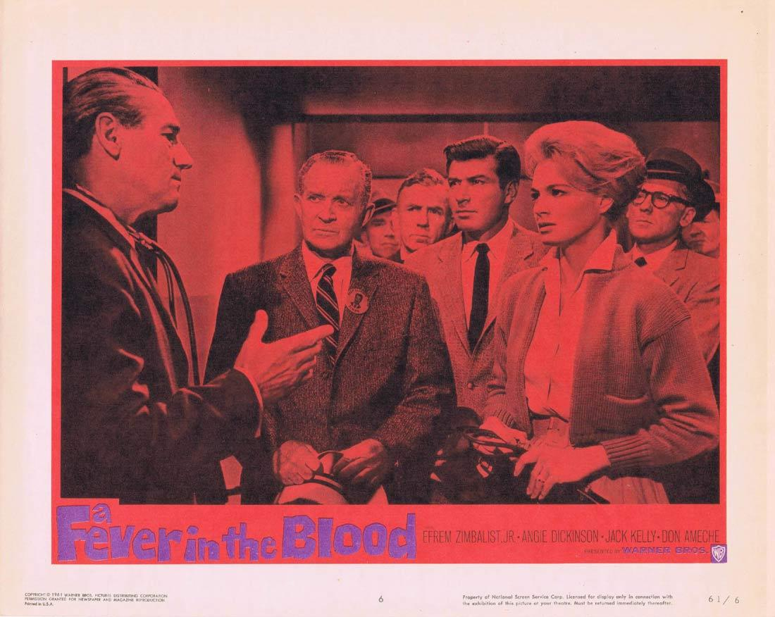 FEVER IN THE BLOOD Vintage Movie Lobby Card 6 Efram Zimbalist Jr Angie Dickinson Jack Kelly