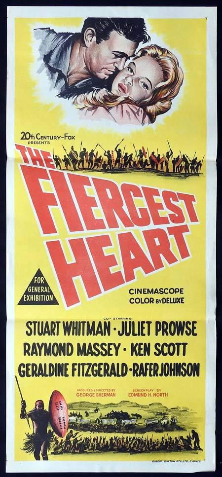 THE FIERCEST HEART Original Daybill Movie Poster Stuart Whitman Juliet Prowse Raymond Massey