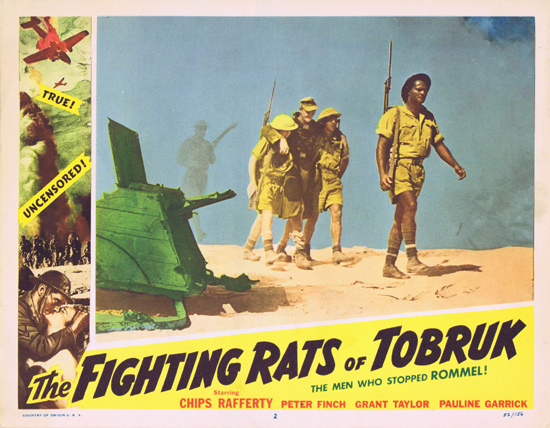FIGHTING RATS OF TOBRUK 1952 Charles Chauvel Chips Rafferty US Lobby Card 2