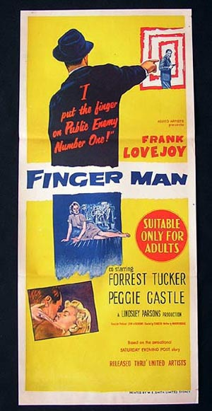 THE FINGER MAN Daybill Movie poster Peggie Castle Frank Lovejoy FIlm Noir