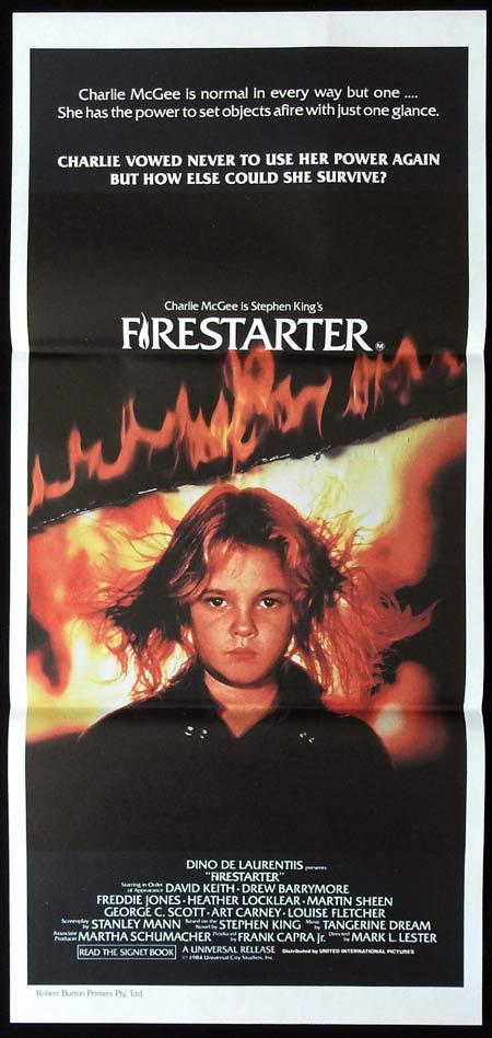 Firestarter, Mark L. Lester, David Keith, Drew Barrymore, Freddie Jones, Heather Locklear, Martin Sheen, George C. Scott, Art Carney, Louise Fletcher