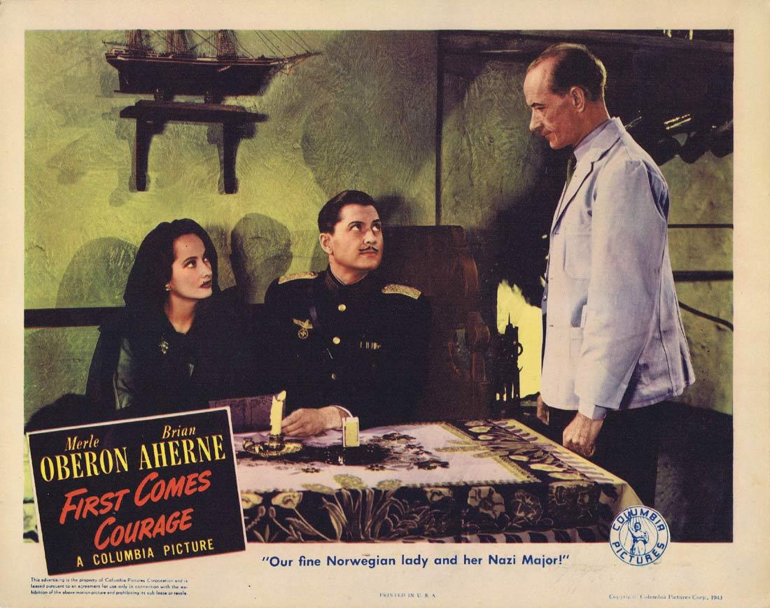 FIRST COMES COURAGE Lobby Card Merle Oberon Brian Aherne