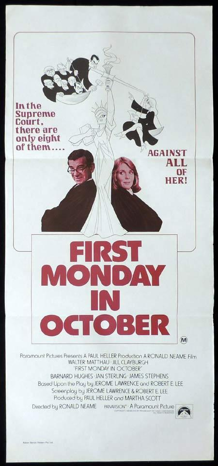 FIRST MONDAY IN OCTOBER Original Daybill Movie Poster Walter Matthau