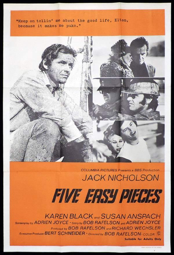 FIVE EASY PIECES One Sheet Movie Poster Jack Nicholson