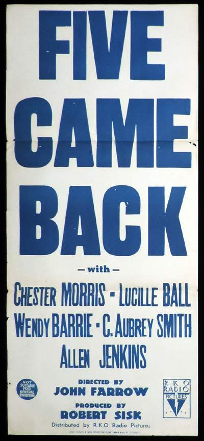 FIVE CAME BACK Original Daybill Movie Poster Lucille Ball