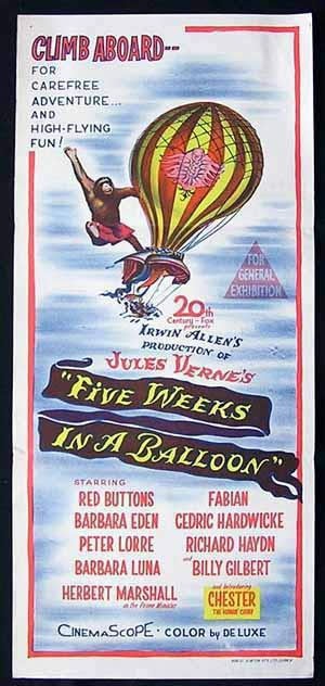 FIVE WEEKS IN A BALLOON 1962  Daybill Movie Poster Peter Lorre Jules Verne