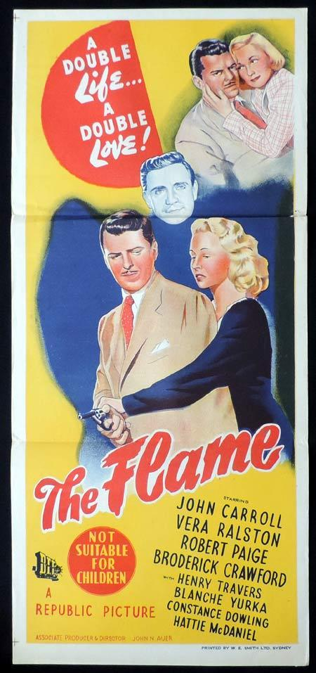 THE FLAME Original Daybill Movie Poster John Carroll Film Noir