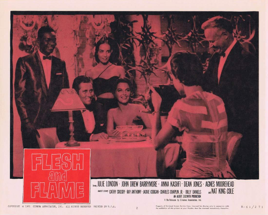 FLESH AND FLAME Lobby Card 2 Julie London John Drew Barrymore Nat King Cole 1961r