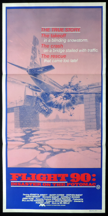 FLIGHT 90: DISASTER ON THE POTOMAC Plane Crash Vintage daybill Movie poster