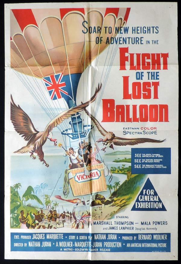 FLIGHT OF THE LOST BALLOON One Sheet Movie Poster Jules Verne Marshall Thompson