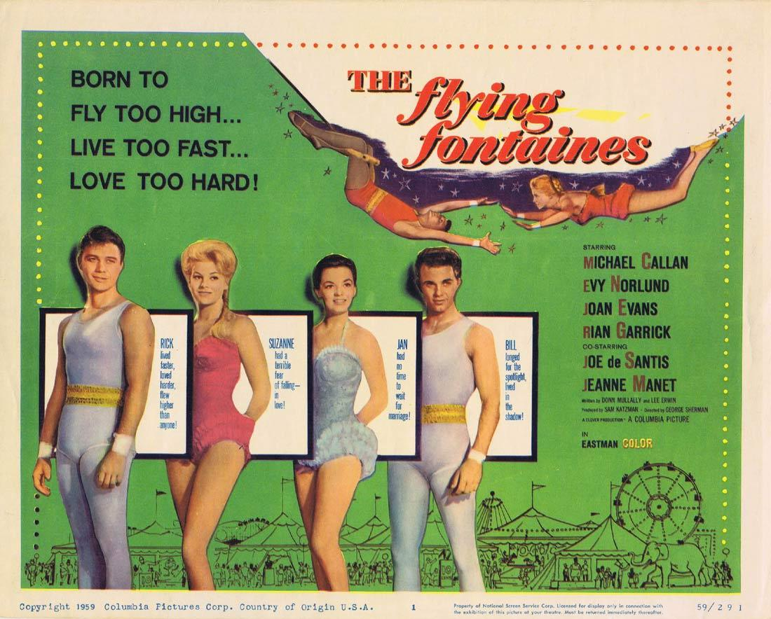 THE FLYING FONTAINES Title Lobby Card Michael Callan Trapeze Circus