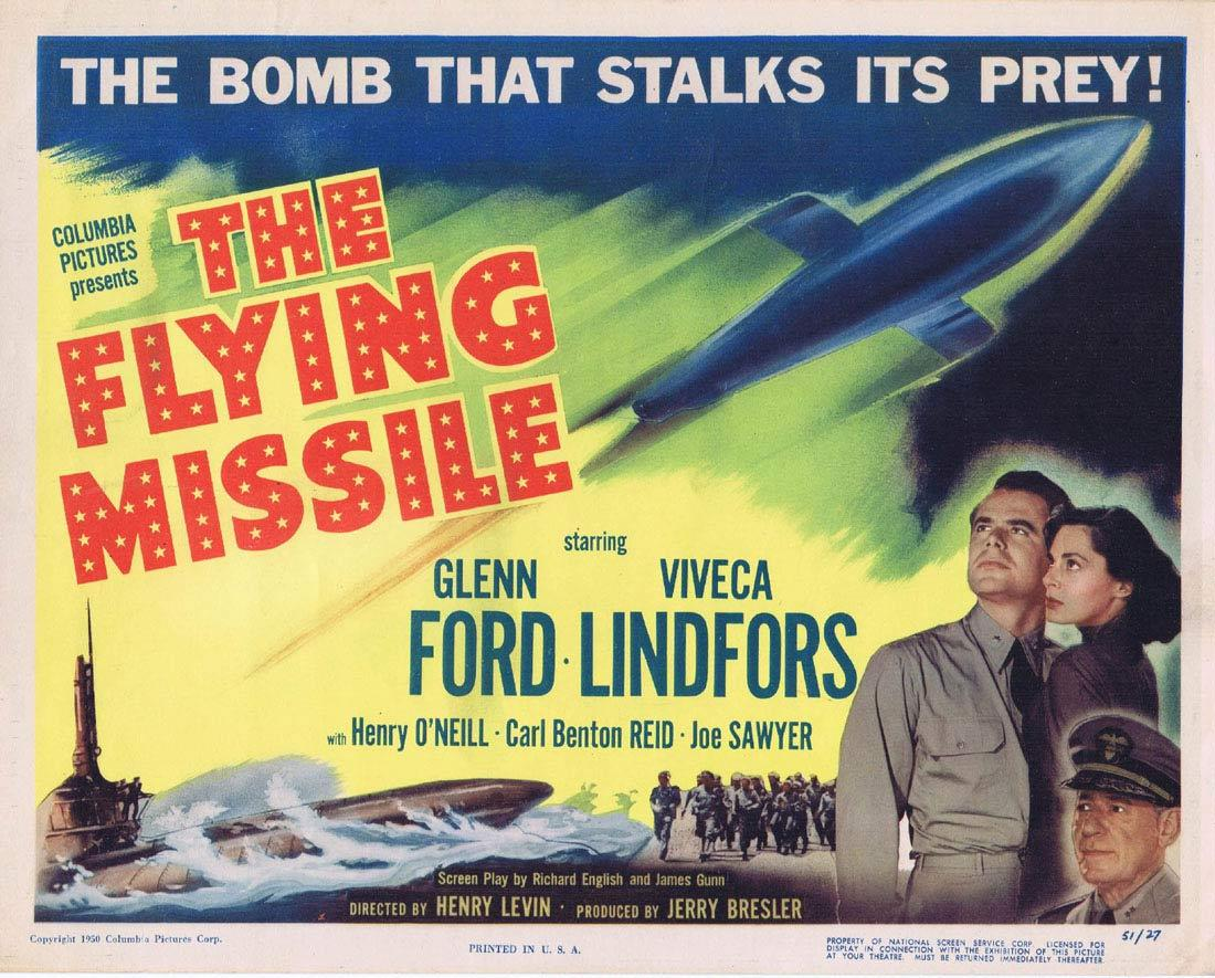THE FLYING MISSILE Title Lobby Card Glenn Ford Viveca Lindfors Kenneth Tobey