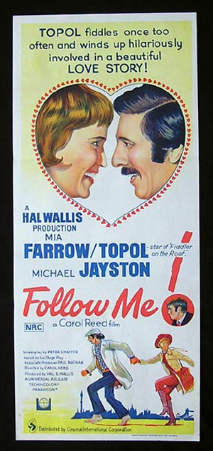 FOLLOW ME Mia Farrow Topol RARE Daybill Movie poster