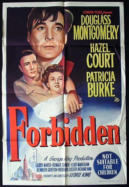 FORBIDDEN One Sheet Movie poster HAZEL COURT Film Noir