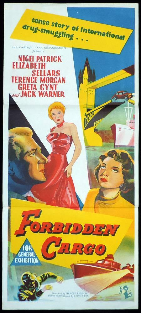 FORBIDDEN CARGO Original Daybill Movie Poster Jack Warner Film Noir