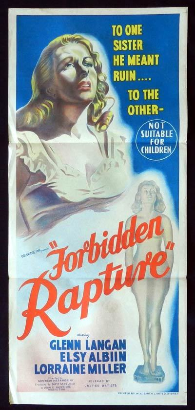 FORBIDDEN RAPTURE Daybill Movie Poster Glenn Langan
