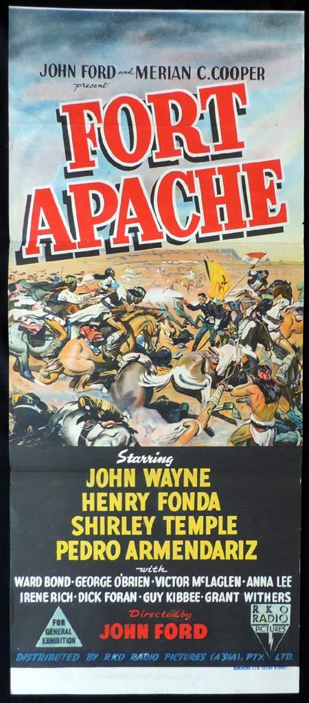 FORT APACHE Original Daybill Movie Poster John Wayne John Ford RKO