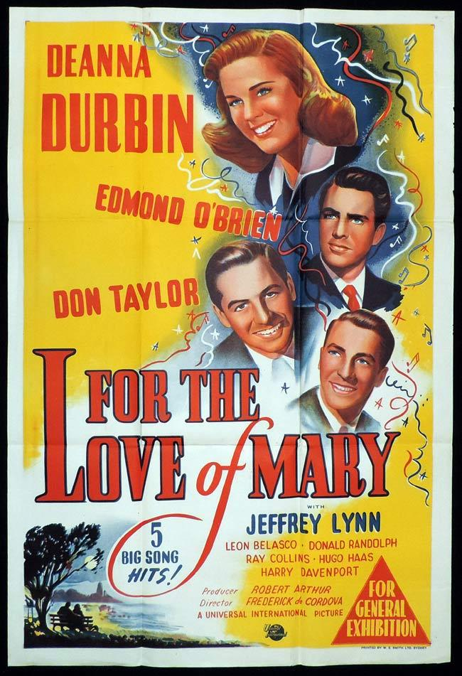 FOR THE LOVE OF MARY Original One sheet Movie Poster DEANNA DURBIN Edmond O'Brien