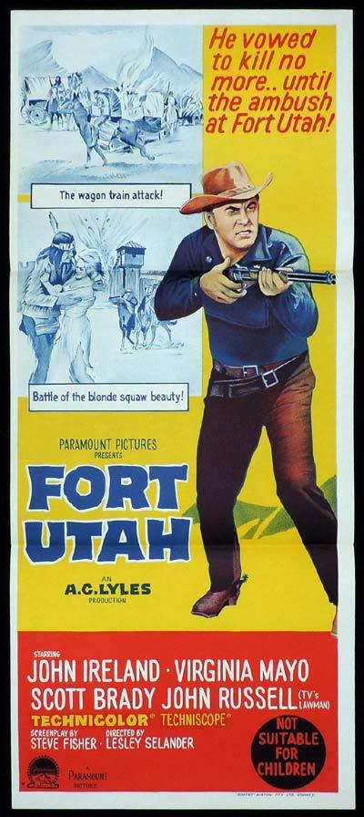 FORT UTAH Original Daybill Movie Poster John Ireland Western