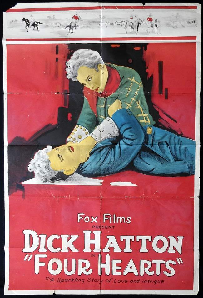 FOUR HEARTS Original One sheet Movie Poster 1922 Dick Hatton