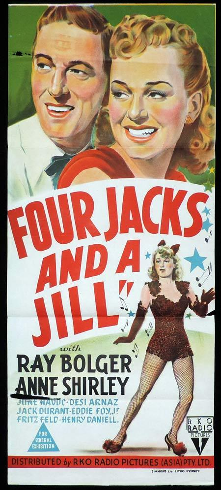 FOUR JACKS AND A JILL Original Daybill Movie Poster Ray Bolger Anne Shirley RKO