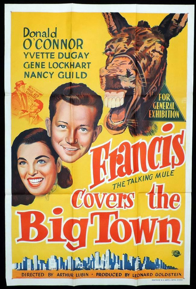 FRANCIS COVERS THE BIG TOWN Original One sheet Movie Poster Donald O'Connor Talking Mule