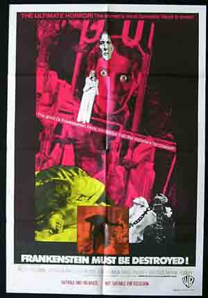 FRANKENSTEIN MUST BE DESTROYED One sheet Movie poster Hammer Horror Australian