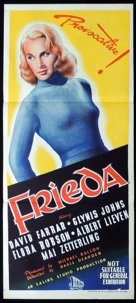 FRIEDA Original Daybill Movie Poster Mai Zetterling Glynis Johns