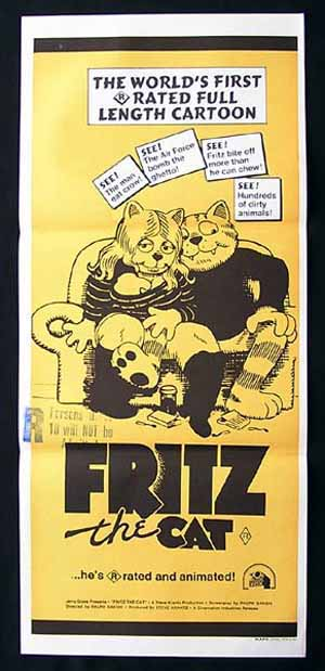 1999 US FRITZ THE CAT Movie Poster 1972 Ralph Bakshi ANIMATION daybill
