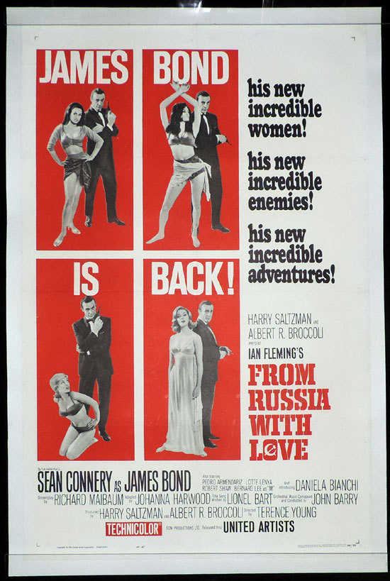 FROM RUSSIA WITH LOVE 1963 James Bond LINEN BACKED US One sheet Movie poster