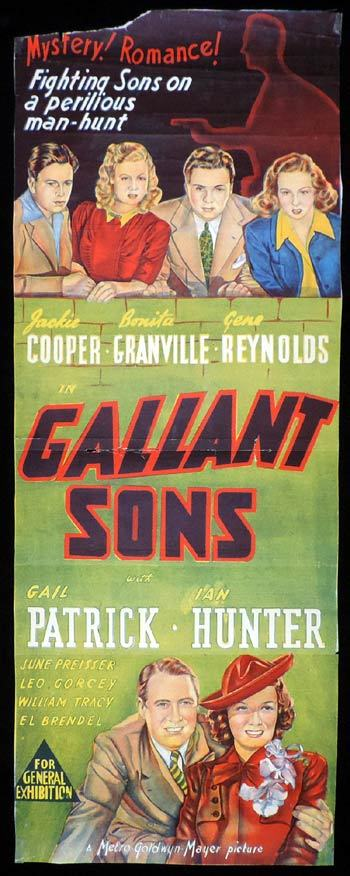 GALLANT SONS Long Daybill Movie poster Jackie Cooper Gail Patrick
