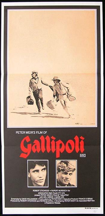 GALLIPOLI Daybill Movie Poster Mel Gibson RARE Country of Origin