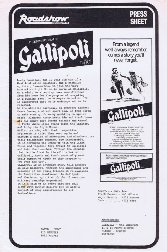 GALLIPOLI Rare AUSTRALIAN Movie Press Sheet