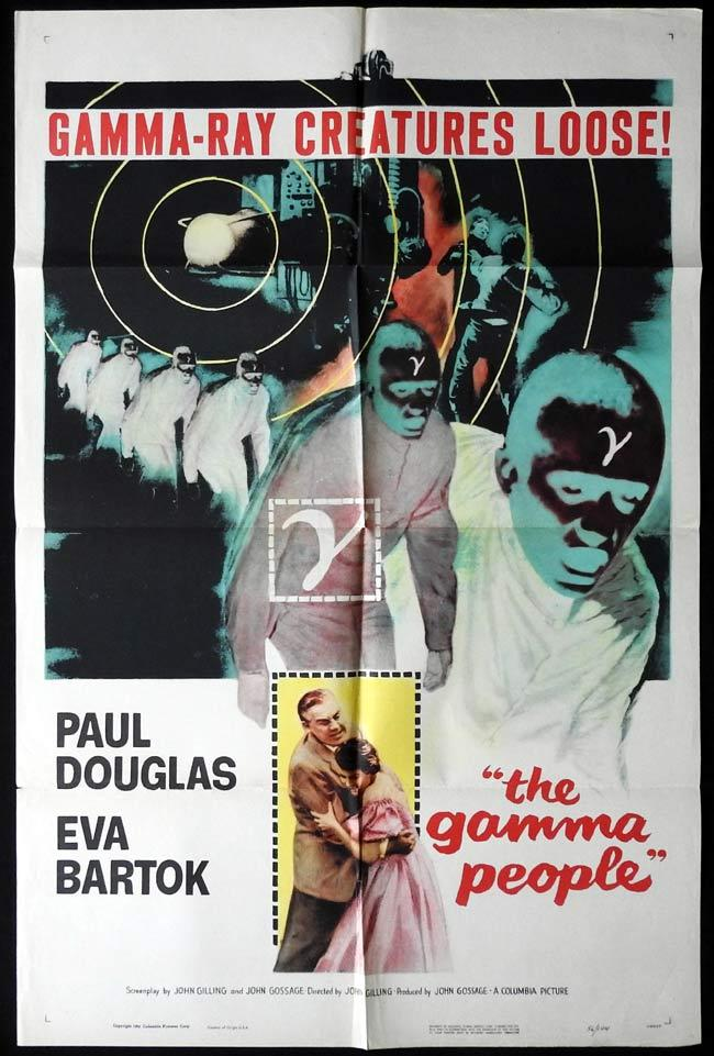 THE GAMMA PEOPLE Original One sheet Movie Poster SCI FI Paul Douglas