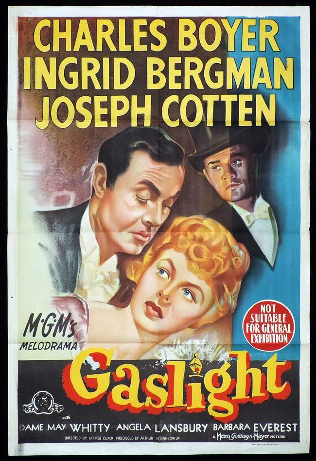 GASLIGHT Original One sheet Movie Poster Charles Boyer Ingrid Bergman
