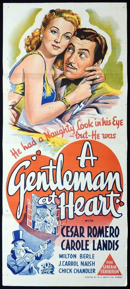 A GENTLEMAN AT HEART Original Daybill Movie Poster Cesar Romero Carole Landis
