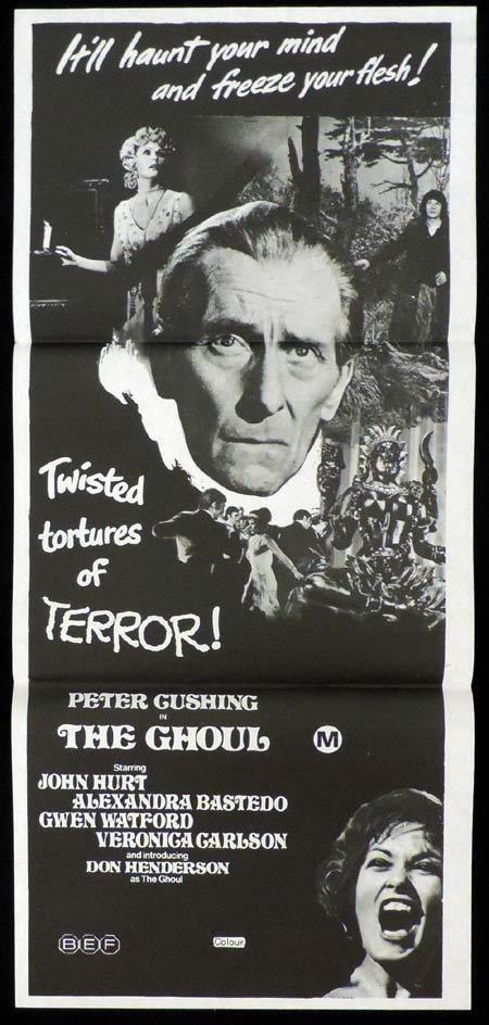 THE GHOUL Original Daybill Movie Poster Cannibals Peter Cushing