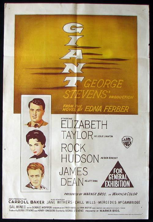 GIANT Movie Poster 1956 James Dean RARE Australian One sheet