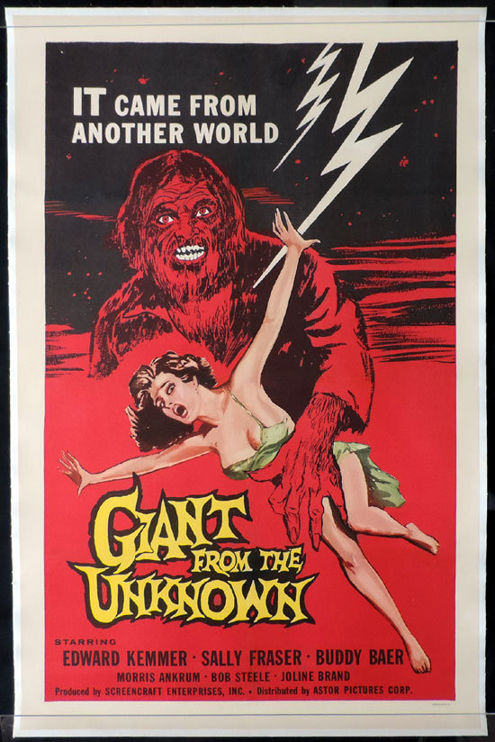 GIANT FROM THE UNKNOWN, Sci Fi, Science Fiction, One sheet, Movie poster, linen backed