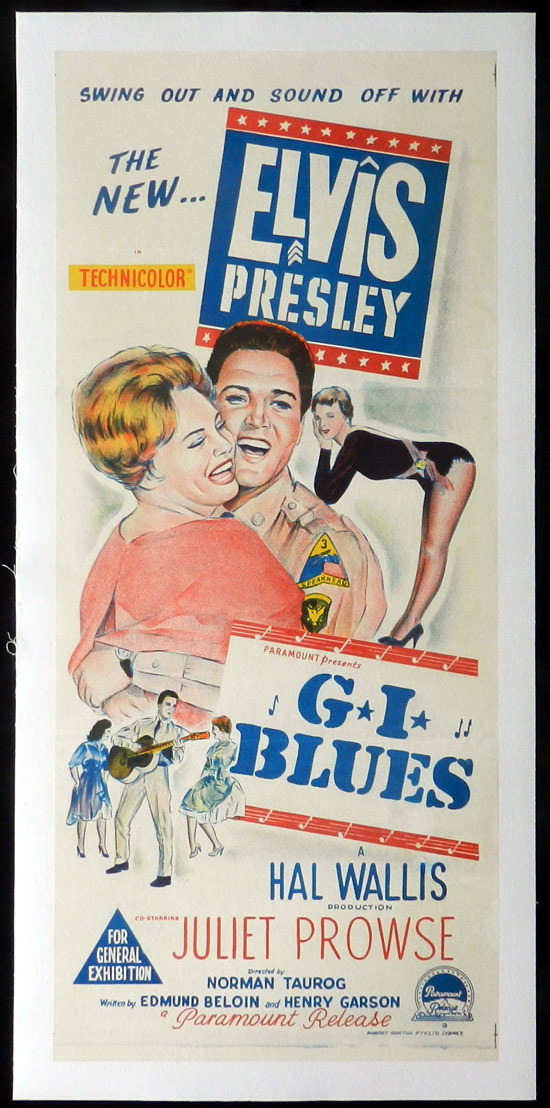 G.I. BLUES, Elvis Presley, Australian Daybill, Movie poster, Linen Backed, Juliet Prowse, Robert Ivers, James Douglas.
