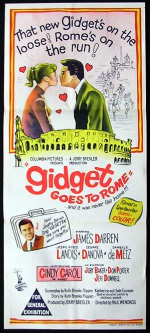 GIDGET GOES TO ROME Daybill Movie Poster Cindy Carol James Darren