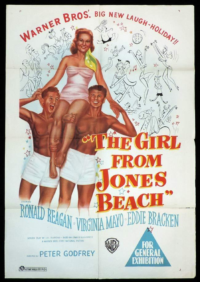 THE GIRL FROM JONES BEACH Original One sheet Movie Poster Ronald Reagan Virginia Mayo