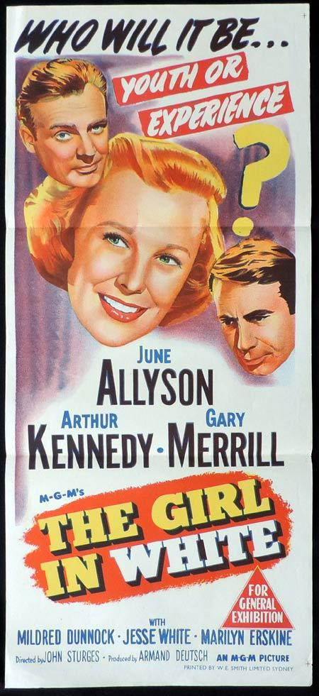 THE GIRL IN WHITE Original Daybill Movie Poster June Allyson