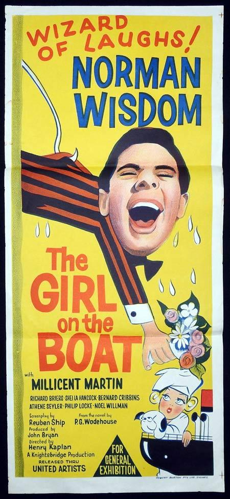 THE GIRL ON THE BOAT Original Daybill Movie Poster Norman Wisdom Millicent Martin Richard Briers
