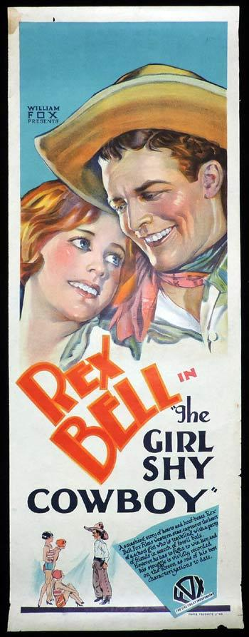 THE GIRL SHY COWBOY Long Daybill Movie poster 1928 Rex Bell
