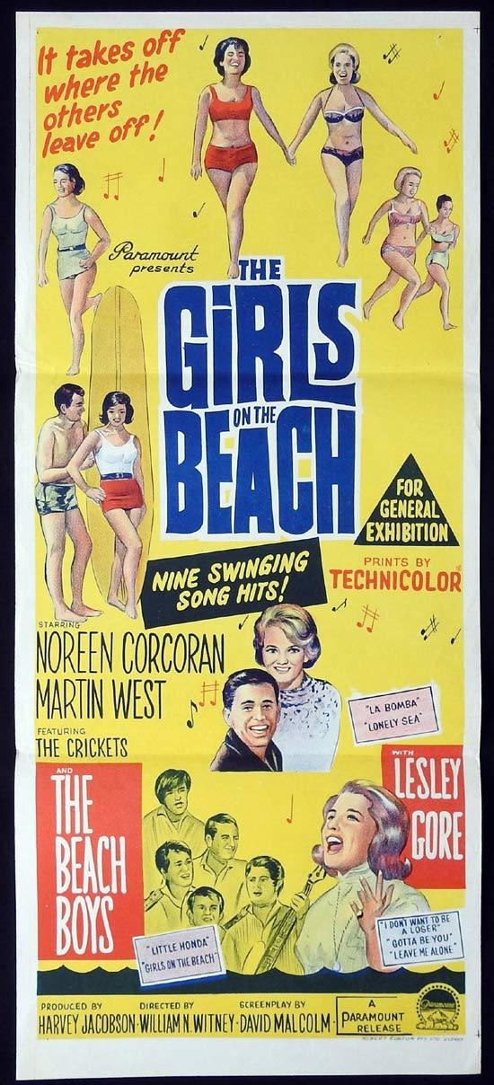 GIRLS ON THE BEACH Original Daybill Movie Poster Noreen Corcoran Martin West Linda Marshall