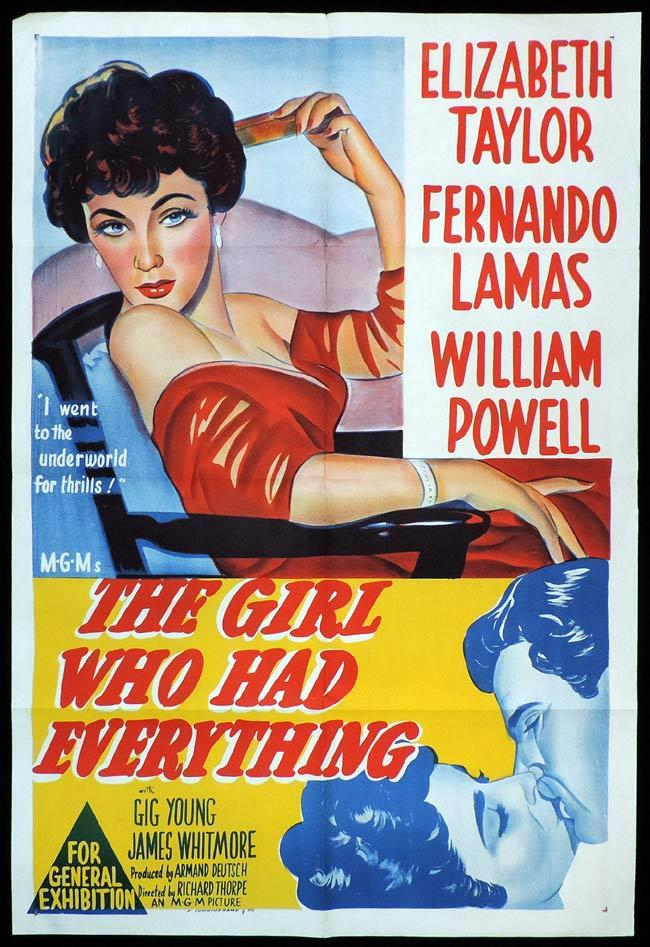 THE GIRL WHO HAD EVERYTHING Original One sheet Movie Poster Elizaebeth Taylor Fernando Lamas William Powell