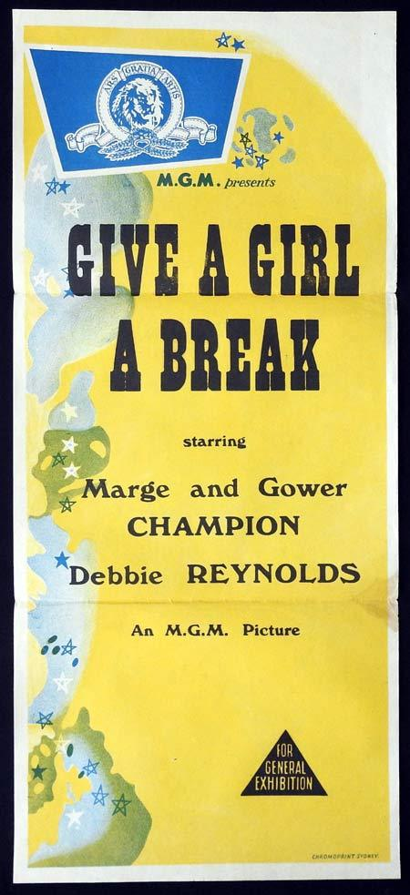 GIVE A GIRL A BREAK Original Daybill Movie Poster Give a Girl a Break, Debbie Reynolds Marge and Gower Champion