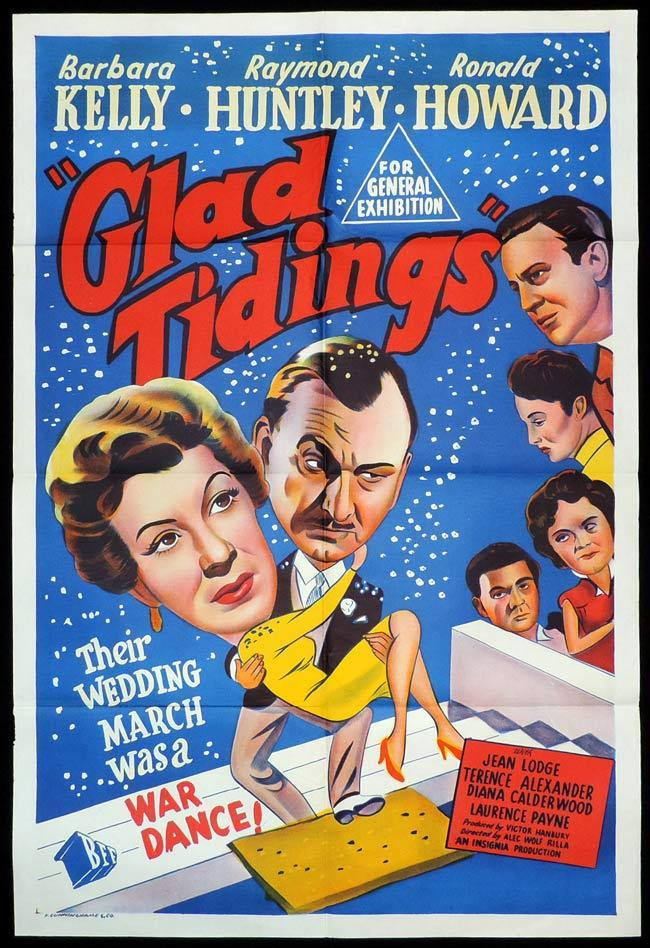GLAD TIDINGS, Original One sheet, Movie Poster, Barbara Kelly, Raymond Huntley, Ronald Howard